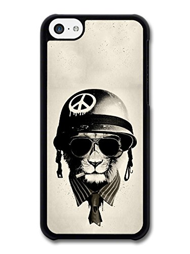 Cool Badass Lion Warrior With Peace Helmet and Sunglasses case for iPhone 5C