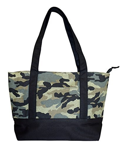 Camo Canvas Tote Bag (NEW! High Quality Zippered Pattern Prints Large Roomy Canvas Tote Bag,Camouflage)