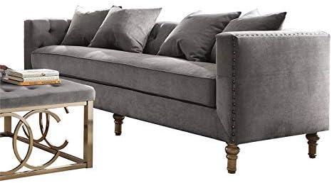 ACME Sidonia Gray Velvet Sofa
