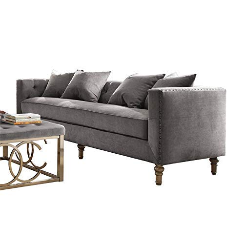 ACME Sidonia Gray Velvet Sofa with 4 Pillows