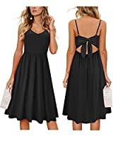 OUGES Womens Summer Backless Adjustable Spaghetti Strap Tie Back Plain Dress