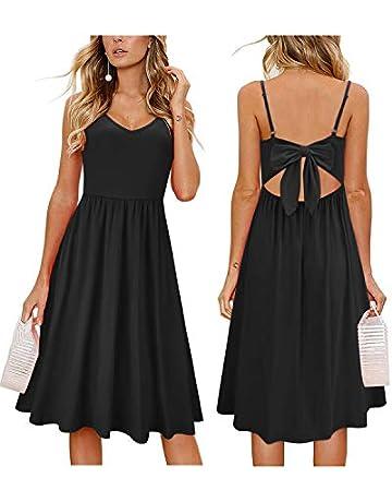 028ec6042 OUGES Womens Summer Backless Adjustable Spaghetti Strap Tie Back Plain Dress