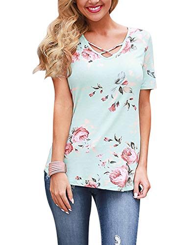 Cross Knit Top Criss (SUNNYME Summer Floral Shirts for Women Criss Cross Casual Tops Short Sleeve Tunic Tees A-Green XL)