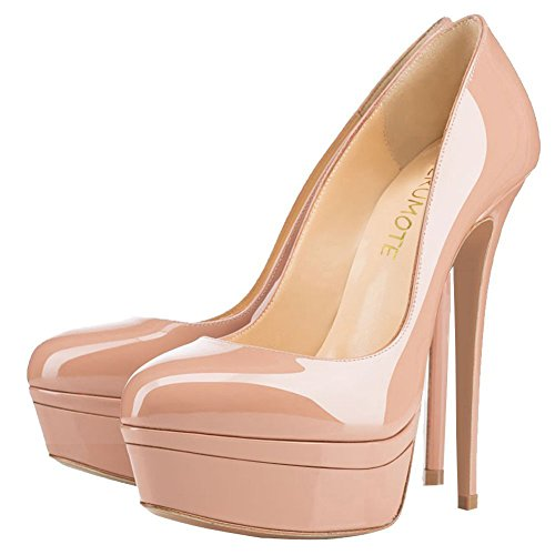 Nude Stiletto With Pump Solid Heels Double Women's Fancnv Color Platform Platform MERUMOTE 8wRqa7Ux