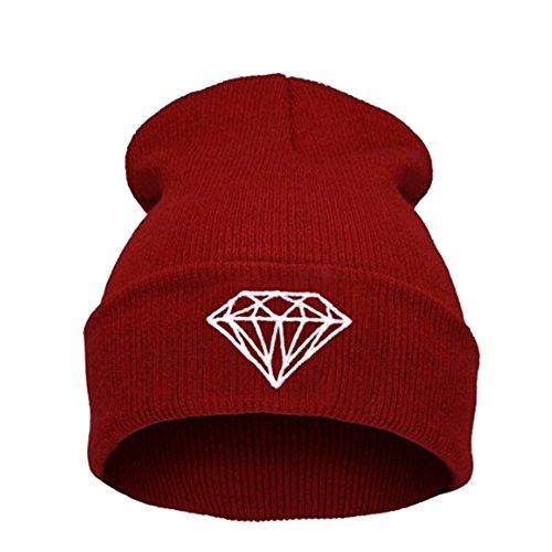 "Joyci Street Dancing Hip Pop Hat "" Diamond"" Beanie Hat Solid Snowboard (Wine Red)"