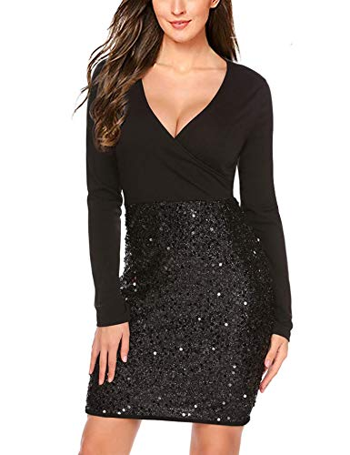 (Hotme Women's Sequin Glitter V Neck Long Sleeve Sexy Wrap Front Bodycon Stretchy Mini Party Dress Black)