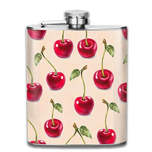 Hill Wine Cherry Bar (Laki-co Cherry Pattern Hip Flask for Liquor Stainless Steel Bottle Alcohol 7oz)