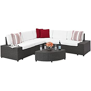 best choice products patio furniture 6 piece wicker sectional sofa set w corner coffee