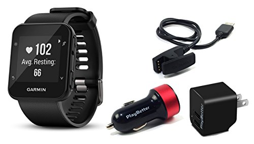 Garmin Forerunner 35 (Black) GPS Running Watch CHARGING BUNDLE with PlayBetter USB Wall & Vehicle Charging Adapters, USB Charging Cable | 24/7 Activity Tracking & On-Wrist Heart Rate by PlayBetter