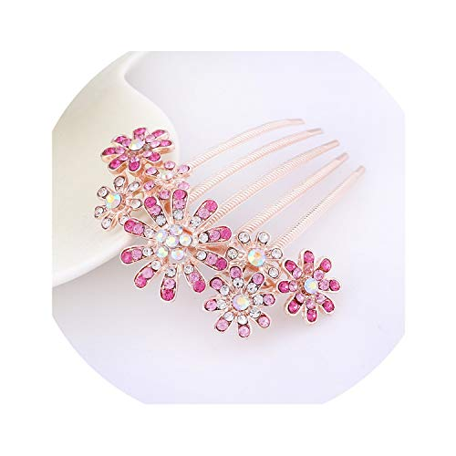 Korean Version Of The Sun Flower Five-Tooth Rhinestone Plug Comb Hair Accessories Pearl Headdress Travel Jewelry Bride Hair Comb Sizzling Wholesale,G Pink]()