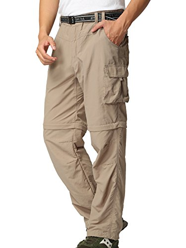 Toomett Men's Quick Dry Convertible Casual Lightweight Hiking Camping Outdoor Pant #M885 (Khaki,36) Breathable Nylon Pant