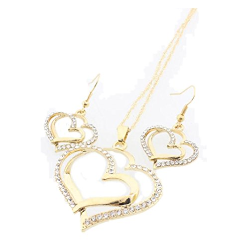 Iuhan Stunning Heart Shape Princess Bride Bridesmaid Romantic Wedding Sparkling Crystal Creative Necklace Earring Set (A, Gold) (Earring Shape Heart Cameo)