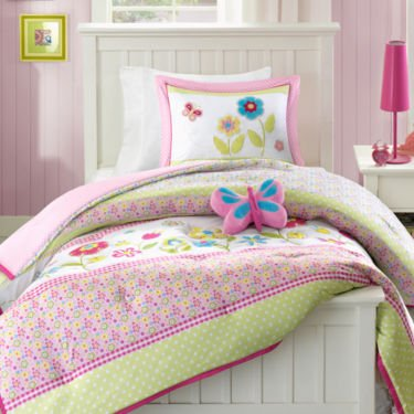Mizone Sweet Flower Reversible Comforter Set - 3 pc. Twin size 66x90