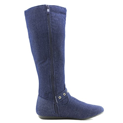 Link Mid Calf Side Zipper & String Faux Suede Flat Heel Boots (Adults) Blue Denim YQwXVH