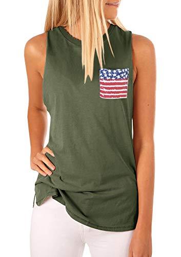Niitawm Womens High Neck Tank Top Sleeveless Blouse Plain T Shirts American Flag Print Pocket Cami Summer Tops