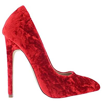 Amazon.com | Liliana Pixie-1 Crushed Velvet Pointy Toe Stiletto High