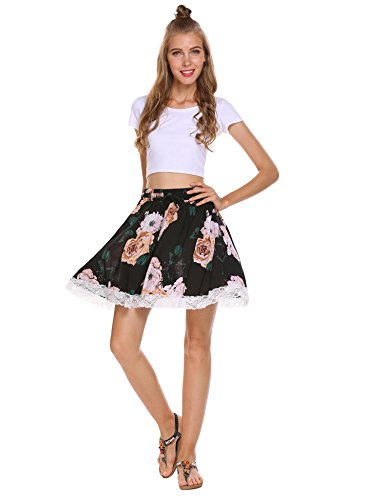 (Shine Women's A-Line Floral Embroidered Mini Skirt)