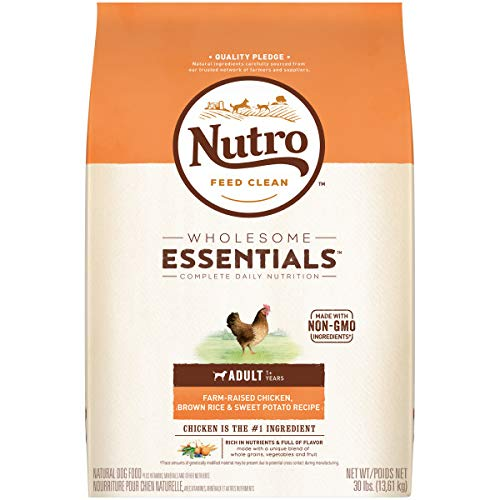 NUTRO WHOLESOME ESSENTIALS Natural Adult Dry Dog Food Farm-Raised Chicken, Brown Rice & Sweet Potato Recipe, 30 lb. Bag