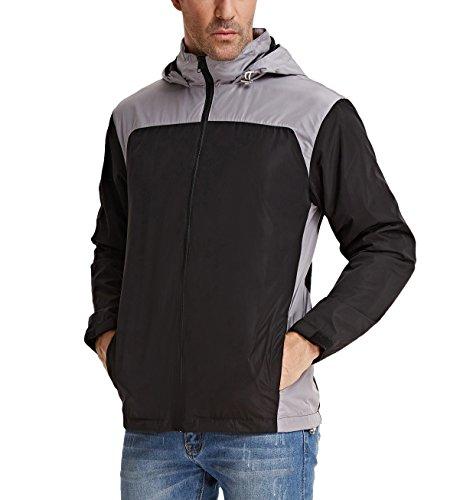 PAUL JONES Men's Outdoor Waterproof Front-Zip Rain Coat Jacket With Hood Size XXL Black/Grey