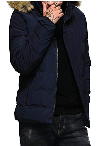 Hooded Outwear Jacket Blue Solid Men's Warm Puffer Thicken Color Fashion security wzIpqRWC