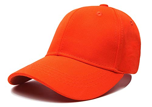 Edoneery Unisex Toddler Kids Plain Cotton Adjustable Low Profile Baseball Cap Hat(A1009) (Orange)