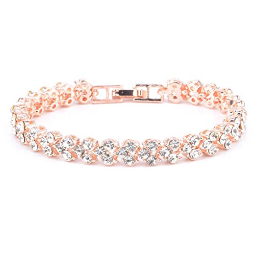 Clearance Sale!Funic New Fashion Roman Style Womans Crystal Diamond Bracelets Gifts (Rose Gold)