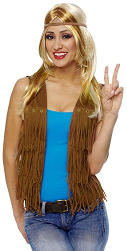 Costume Culture Women's Hippie Fringed Vest, Brown, Small