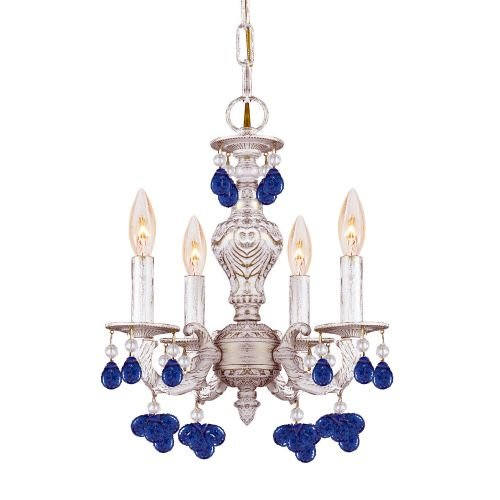LUE Crystal Accents Four Light Mini Chandelier from Paris Market collection in Whitefinish, 13.50 inches (Aw Blue Crystorama Lighting)