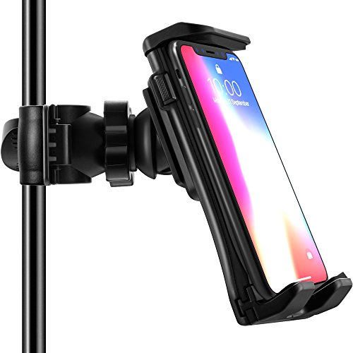 Frienda Cell Phone Tripod Mount Adapter Music/Microphone Stand Tablet Holder Compatible with iPhone X 8 7 Plus 6s Samsung Galaxy S8 S9 Note Google Pixel XL LG V30 Phones and iPad 9.7/10.5 Inch