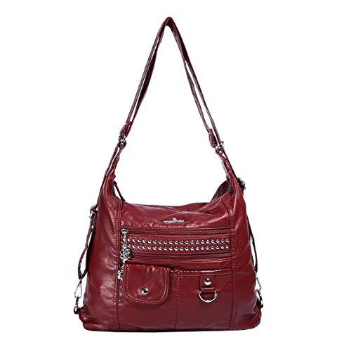 Angelkiss Soft Leather Bags Women Shoulder Handbags and Purses Ladies Multifunctional Satchel Hobo Messenger Crossbody Top-handle Bag Red, Medium