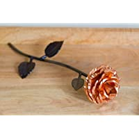 Personalized Gift Hand-Forged Copper and Wrought Iron Metal Rose