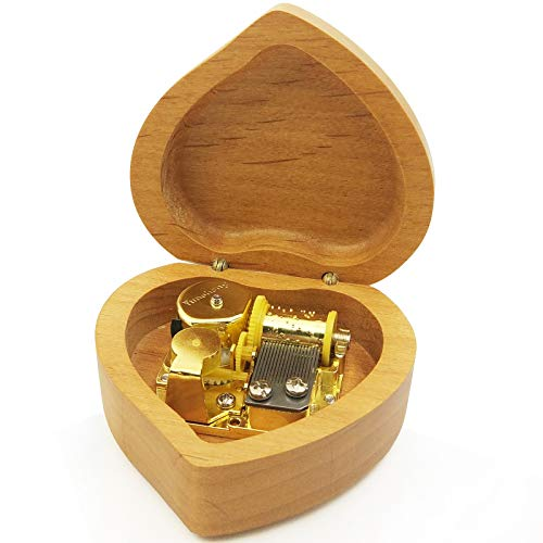 Wingostore Heart Shaped Maple Wood Music Box Wind Up and Golden Movement Music Box for Christmas/Birthday/Valentine's Day (Song:You are My Sunshine)