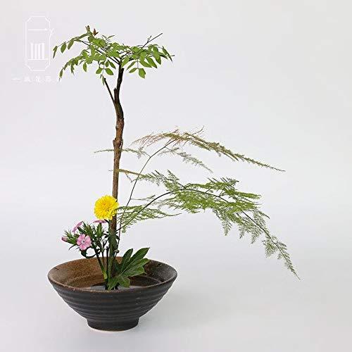 Bowl Planter - Japanese Flower Arrangement Vase Flowerpot Hydroponic Planters Containers Coarse Pottery Flower Pot Salad Matcha Green Tea Bowl ()