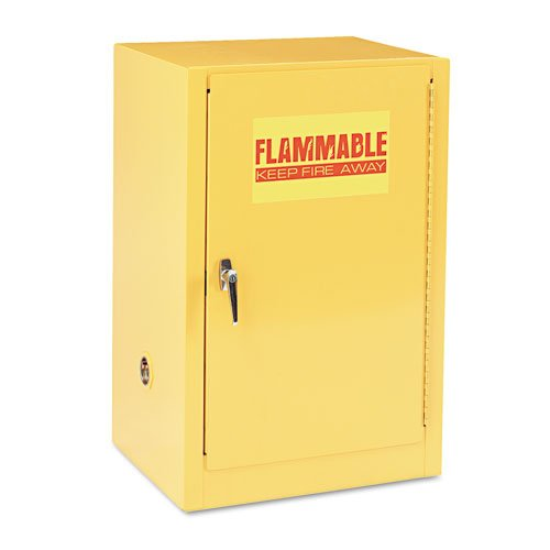Sandusky Lee Compact Flammable Safety Cabinet - 23in.W x 18in.D x 35in.H, Model# SC12F (Yellow Safety Storage Cabinet)