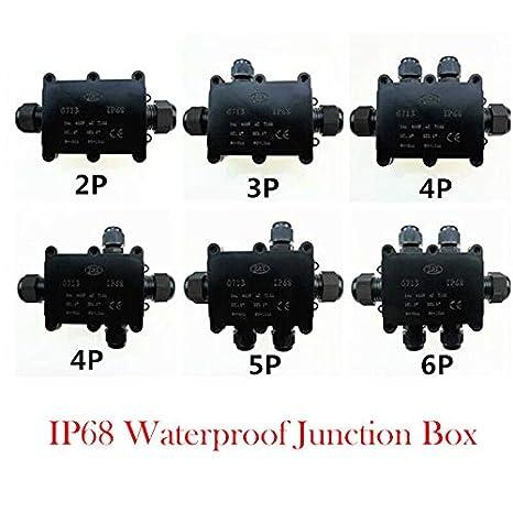 Bo/îte de d/érivation TOOLSTAR noir IP68 /étanche /à leau Bo/îtier /électrique Connecteurs de c/âble pour ext/érieur//ext/érieur Gamme de c/âbles 4-9 mm 9-12 mm 12-15 mm