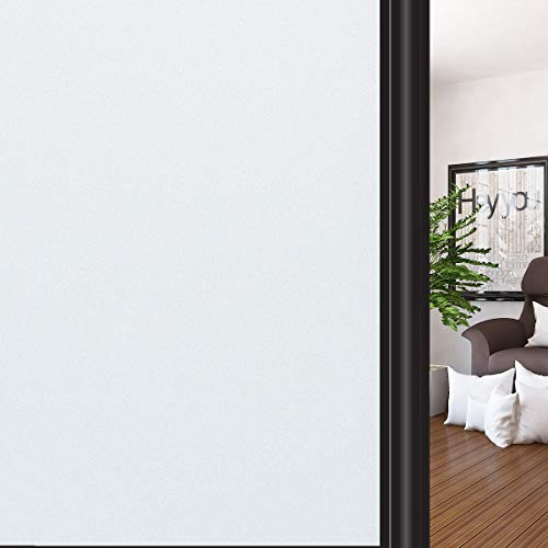 HIDBEA Privacy Window Film Frosted Heat Control UV Protection, Static Cling Reusable Translucent Glass Stickers Covering for Home Office Bathroom (Matte White 17.7 Inch x 8.2 Feet)