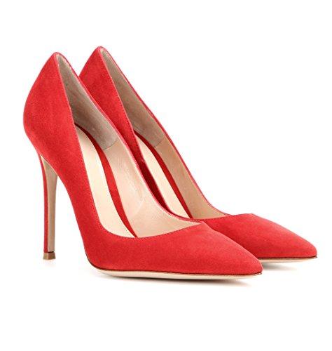 Aguzza Sammitop Punta Classico Pattini Camoscio Femminile Stiletto Tallone 10cm Rosso Pompe 6wZ5xqw