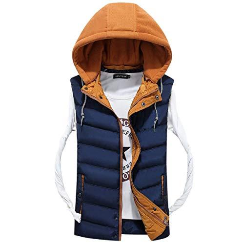 Blue Jacket Sleeveless Coat Shirt Men's Boy Winter Warm Vest Quilted Jacket Fashion Clásico Hooded Down Down Ultralight Vest Hq16qTBw
