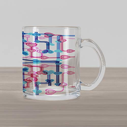 (Ambesonne Romance Glass Mug, Retro Hearts and Pipes in Subway Map Route Funky Love Valentines Display, Printed Clear Glass Coffee Mug Cup for Beverages Water Tea Drinks, Hot Pink Sky Blue)