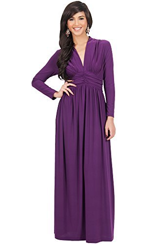 KOH KOH Plus Size Womens Long Sleeve Sleeves Vintage V-Neck Autumn Fall Winter Formal Evening Casual Flowy Maternity Abaya Muslim Islamic Cute Gown Gowns Maxi Dresses, Purple 3X 22-24 (5)