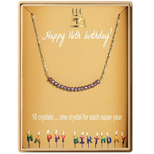 (16th Birthday Gifts Necklace for Girls S925 Sterling Silver Sweet 16 Necklace for 16 Year Old Girl Girl Jewelry Gift for Her Jewelry Gift Idea )