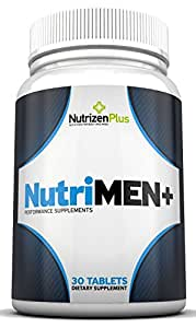 NutriMEN+ #1 Men's Daily Male Enhancement Supplement. Energy, Size, Endurance, libido, Drive, Includes 50mg DHEA longer Workouts, Mental Focus and Overall Concentration. Saw Palmetto & Goat Weed Advanced Formula for Prostate Health and Urine Flow.