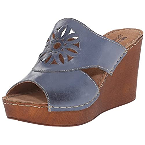 Spring Step Women's Beshka Wedge Sandal, Blue, 37 EU/6.5-7 M US