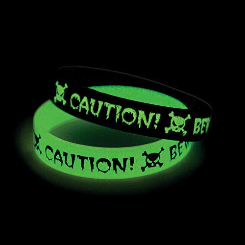Fun Express - GID Caution Rubber Bracelets for Halloween - Jewelry - Bracelets - Rubber Bracelets - Halloween - 12 Pieces]()
