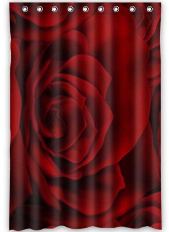 BravoVision Fashion Custom Red Rose Waterproof Fabric Bath Shower Curtain 48quot