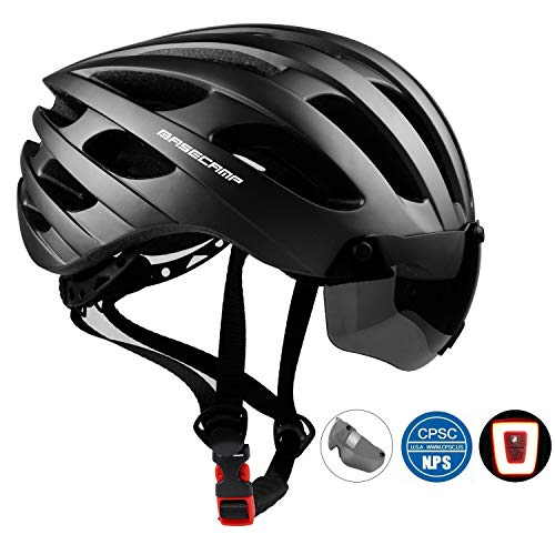 Bike Helmet, Basecamp CPSC Safety Standard Bicycle Helmet with USB Rechargeable LED Light&Magnetic Goggles BMX Helmet Adjustable&Comfortable for Adult Men&Women for Cycling/Mountain/Road