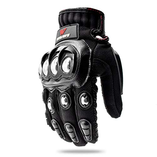 (WOSAWE Alloy Stainless Steel Racing Full Finger Motorcycling Gloves, Medium)