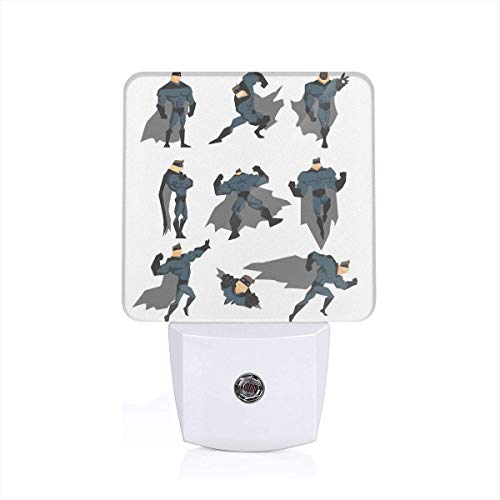 Colorful Plug in Night,Fun Cartoon Man in Costume Posing Hero Flying Running with Art Print,Auto Sensor LED Dusk to Dawn Night Light Plug in Indoor for Childs Adults ()