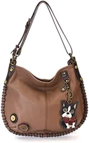 3075094a2f Chala Hobo Crossbody Large Tote Bag Pleather BROWN Convertible Boston  Terrier