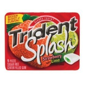 10pack Trident Splash Sugar Free Gum, Strawberry - Lime, 9-Count